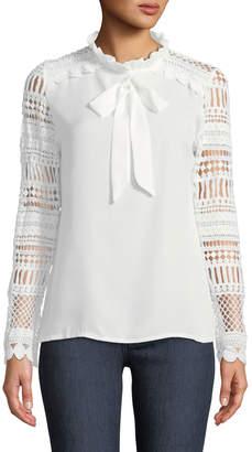 Haute Rogue Tina Crochet-Sleeve Bow-Neck Blouse