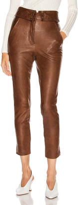 Veronica Beard Minerva Leather Pant in Brown | FWRD