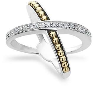 Lagos 18K Gold and Sterling Silver X Ring with Diamonds