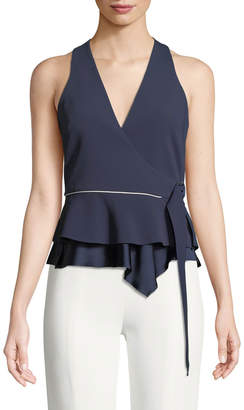 Jonathan Simkhai Satin Crepe Sleeveless Wrap Blouse