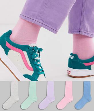 Asos Design DESIGN 5 pack ankle sock with pastel color save