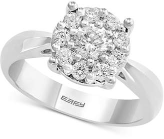 Effy Diamond Cluster Engagement Ring (5/8 ct. t.w.) in 14k White Gold