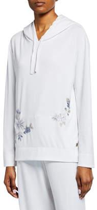 Natori Zen Floral-Embroidered Hoodie