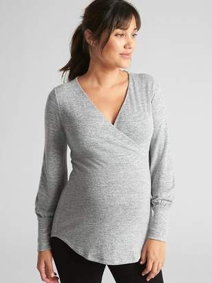Gap Maternity Softspun Long Sleeve Wrap-Front Top