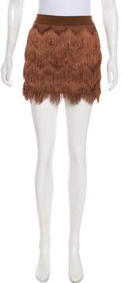 BCBGMAXAZRIA Fringe Mini Skirt