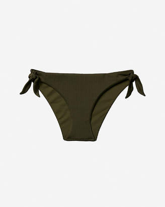 Express Low Rise Ribbed Bow Tie Bikini Bottoms