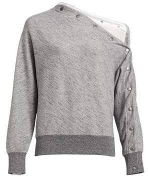 Rag & Bone Kate Cotton Snap Detail Modular Sweatshirt