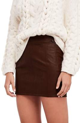 Free People Retro Faux Leather Body-Con Miniskirt