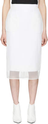 Givenchy White Tulle Mid-Length Pockets Skirt