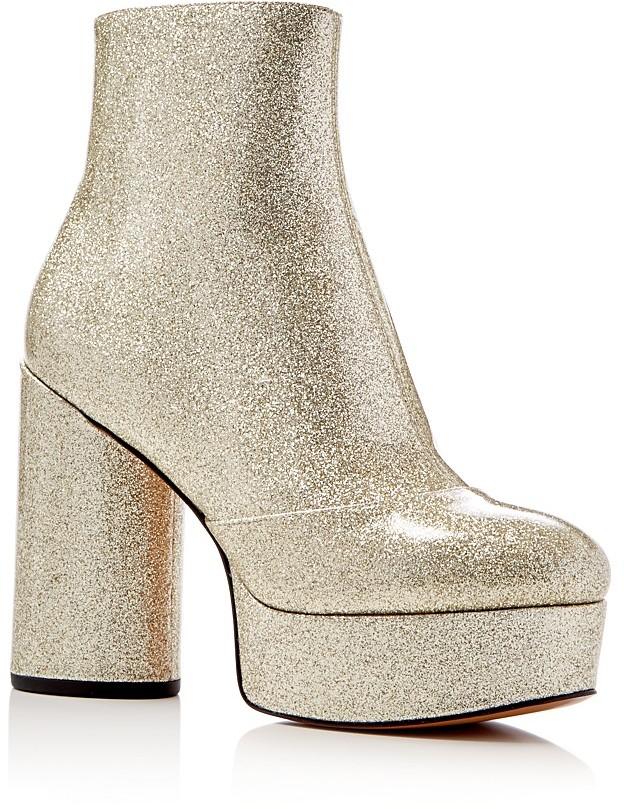 Marc JacobsMARC JACOBS Amber Metallic Glitter Platform High Heel Booties