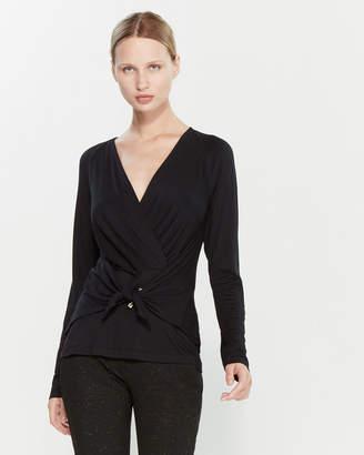 Versace Black Wrap Long Sleeve Blouse