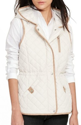 Women's Lauren Ralph Lauren Hooded Quilted Vest $140 thestylecure.com