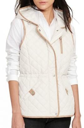Women's Lauren Ralph Lauren Hooded Quilted Vest $140 thestylecure.com