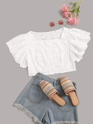 Shein Plus Eyelet Embroidery Ruffle Sleeve Crop Top