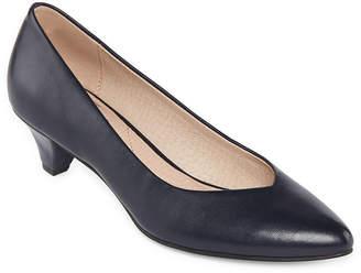 ROYU Royu Womens Wylie Slip-on Pointed Toe Cone Heel Pumps