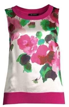 St. John Merino Jersey Knit Floral Shell