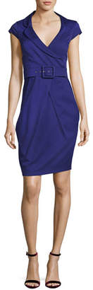 Armani Collezioni Cap-Sleeve Portrait-Collar Dress with Belt, Purple