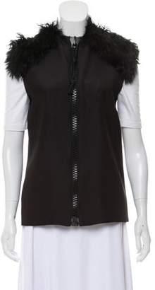 Celine Fur-Trimmed Zip-Up Vest