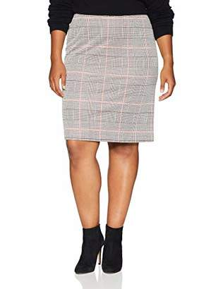 Nine West Women's Plus Size Knit Plaid Slim Skirt