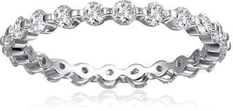 18k White Gold Shared-Prong Diamond Eternity Ring (1 cttw