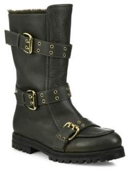 Jimmy Choo Deryn Flat Leather & Dyed Shearling Boots