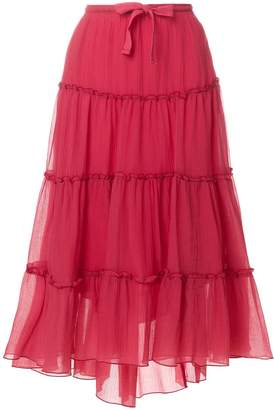 See by Chloe flared ruffled midi skirt