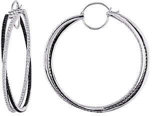 Affinity Diamond Jewelry Affinity 14K 1.50 cttw Black & White Diamond Hoop Earrings