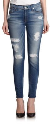 7 For All Mankind Ankle Skinny Distressed Jeans $225 thestylecure.com
