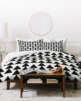 Deny Designs Holli Zollinger Triangles Black Duvet Cover Set