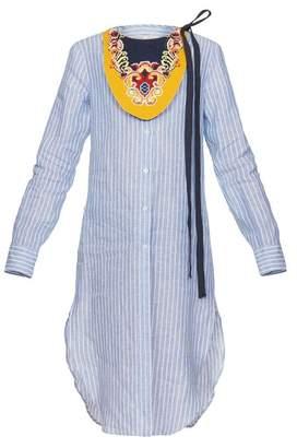 Long Tunic Shirt W/ Emb Bib White/Blue
