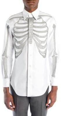 Thom Browne Embroidered Skeleton Button-Down Shirt