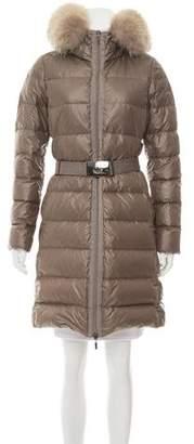 Moncler Nantesfur Fur-Trimmed Coat