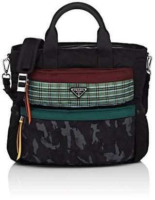Prada Men's Plaid-Pocket Leather-Trimmed Tote Bag