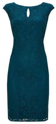 Wallis Teal Lace Shift Dress