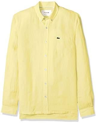 Lacoste Men's Long Sleeve Solid Linen Button Down Collar Reg Fit Woven Shirt