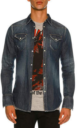 DSQUARED2 Washed Denim Western Shirt