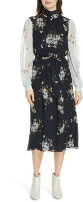 Joie Abbryana Silk Chiffon High Neck Dress