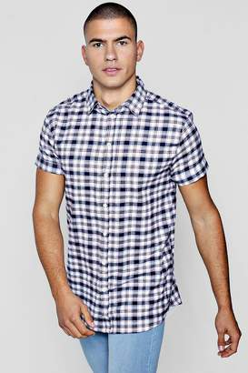 boohoo Navy Check Short Sleeve Shirt