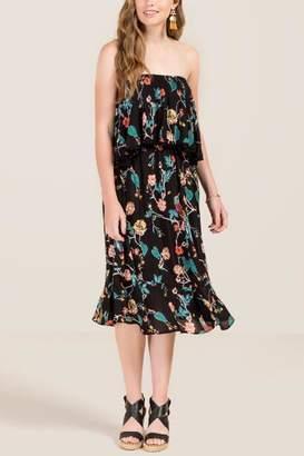 Jayla Floral Midi Dress - Black