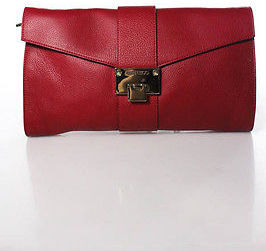 Jimmy ChooJimmy Choo Red Leather Silver Tone Hardware Casual Rivera Clutch Handbag