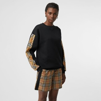 Burberry Vintage Check Detail Jersey Sweatshirt, Black
