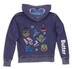 Butter Shoes Girls' Fleece Mineral-Wash Embellished Snow Zip-Up Hoodie - Little Kid, Big Kid