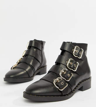 8775a238637 Asos Design DESIGN Avid Leather Studded Ankle Boots