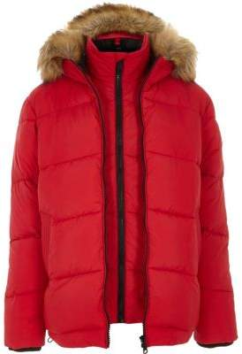 River Island Red double zip front hooded puffer jacket