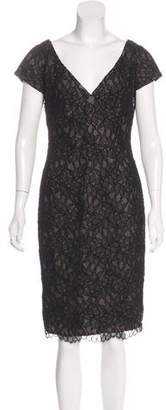 Carmen Marc Valvo Midi Lace Dress