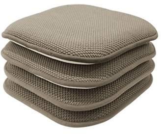GoodGram 4 Pack Non Slip Honeycomb Premium Comfort Memory Foam Chair Pads/Cushions - Assorted Colors (Taupe)