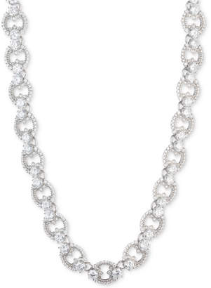 "Marchesa Silver-Tone Cubic Zirconia Link Collar Necklace, 16"" + 3"" extender, Created for Macy's"