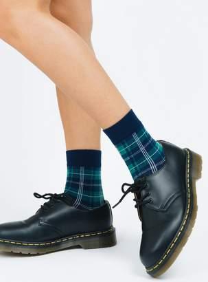 Plaid Quarter Crew Socks