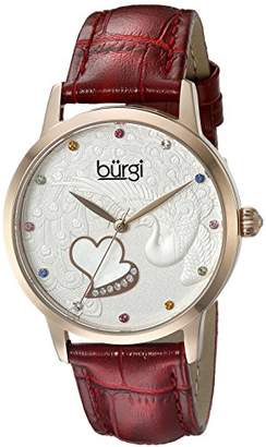 Burgi Women's BUR149RD Rose Gold Quartz Watch With Swarovski Crystal Accented Dial and Red Embossed Leather Strap
