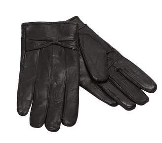 Moda Ms Barcelona Womens Winter Genuine Leather Gloves with Bow